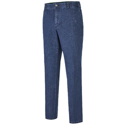 MENS Madison Modern-Fit Xtend Flat-Front Jeans Jeans Denim Blue