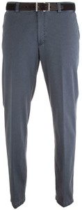 MENS Madrid Comfort-Fit Structured Flat-Front Broek Blauw