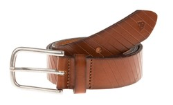 Roy Robson Leather Cut Line Belt Cognac