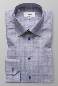 Eton Fine Twill Check Diep Blauw