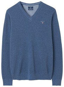 Gant Cotton Piqué V-Neck Mid Denimblue Melange