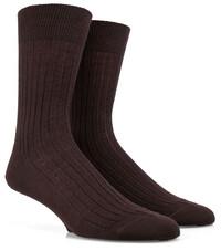 Doré Doré Rib Sock Mixed Wool Donker Bruin
