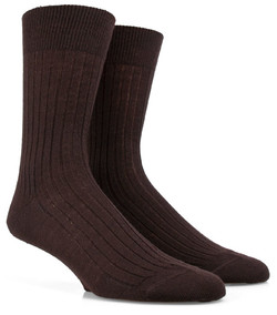 Doré Doré Rib Sock Mixed Wool Dark Brown Melange