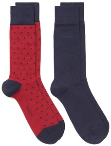 Gant 2Pack Dot And Solid Socks Winter Wine