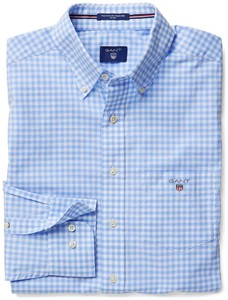 Gant The Fitted Poplin Gingham Check Licht Blauw