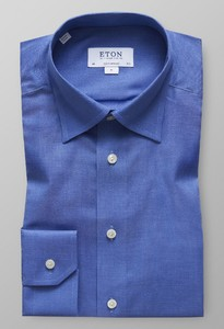 Eton Visgraat Flanel Shirt Licht Blauw Melange