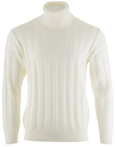 Paul & Shark Basic Merino Ton-Sur-Ton-Stripe Rollneck Trui Off White