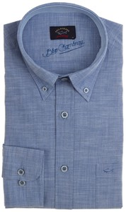 Paul & Shark Blue Chambray Overhemd Blauw