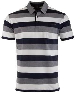Paul & Shark Blue-Grey Barstripe Poloshirt White-Navy
