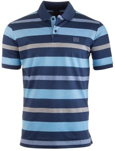 Paul & Shark Blue-Grey Stripe Polo Midden Blauw