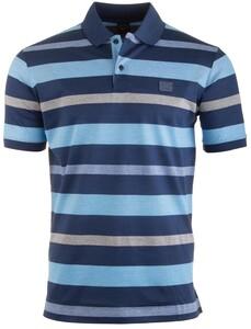 Paul & Shark Blue-Grey Stripe Poloshirt Mid Blue