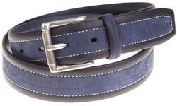 Paul & Shark Blue Suede Contrast Belt Riem Blue Black