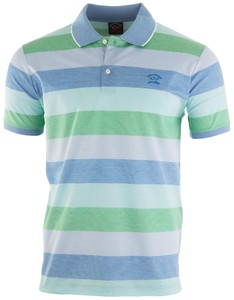 Paul & Shark Bright Summer Stripe Polo Polo Blauw-Groen