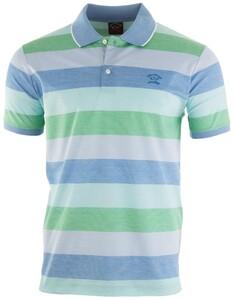 Paul & Shark Bright Summer Stripe Polo Poloshirt Blue-Green
