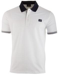Paul & Shark Collar Contrasted Plain White Poloshirt White