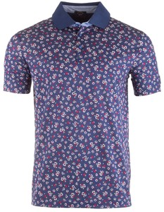 Paul & Shark Fashion Fine Flower Polo Navy-Rood