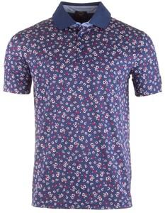 Paul & Shark Fashion Fine Flower Poloshirt Navy-Red