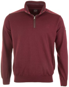 Paul & Shark Fine Leather Contrasts Pullover Bordeaux