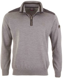 Paul & Shark Fine Leather Contrasts Pullover Mid Grey