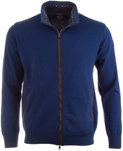 Paul & Shark Flag Collar Contrast Cardigan Cobalt Melange