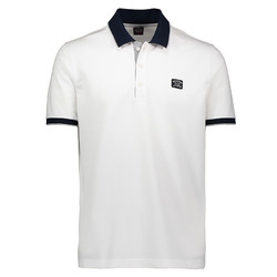 Paul & Shark Grey Blue Contrast Poloshirt White