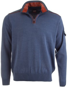 Paul & Shark Half Zip Unique Contrast Trui Jeans Blauw