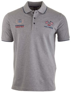 Paul & Shark International Ocean Team Logo Polo Polo Grijs