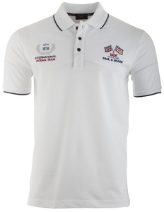 Paul & Shark International Ocean Team Logo Polo Polo Wit