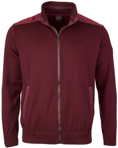 Paul & Shark Leather Contrast Cardigan Bordeaux