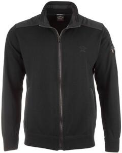 Paul & Shark Leather Contrast Zipper Cardigan Black
