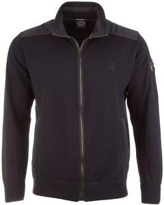 Paul & Shark Leather Contrast Zipper Cardigan Navy