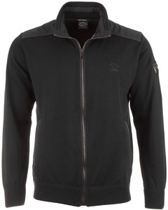 Paul & Shark Leather Contrast Zipper Vest Zwart