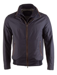 Paul & Shark Leather Contrasted Jacket Jack Navy