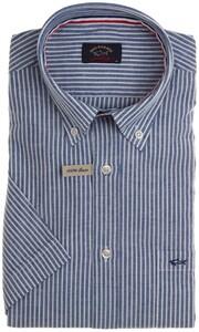 Paul & Shark Linen Stripe Overhemd Midden Blauw