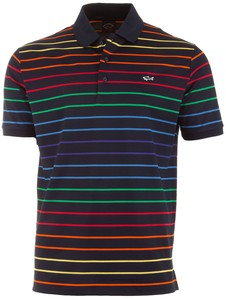 Paul & Shark Luxury Rainbow Stripe Poloshirt Multicolor