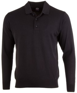 Paul & Shark Merino Extrafine Button Collar Trui Zwart