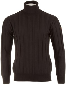 Paul & Shark Merino Ton-Sur-Ton-Stripe Rollneck Pullover Black