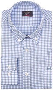 Paul & Shark Plain Weave Check Overhemd Licht Blauw