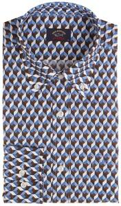 Paul & Shark Retro Cubes Shirt Blue-Brown