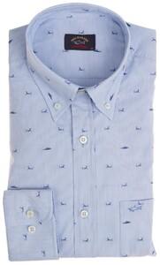 Paul & Shark Shark Pattern Shirt Light Blue