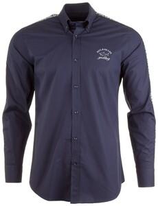 Paul & Shark Shark Sleeve Text Shirt Shirt Navy