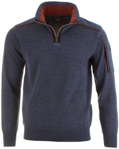 Paul & Shark Shoulder Contrast Zipper Pullover Mid Blue