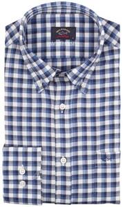 Paul & Shark Soft Fabric Check Overhemd Midden Blauw