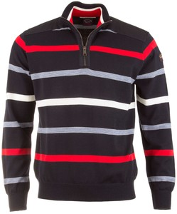 Paul & Shark Stripe Zipper Pullover Navy-Red