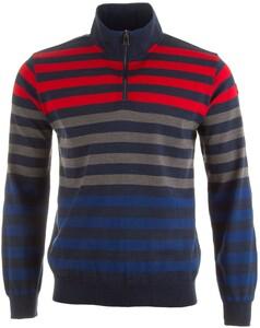 Paul & Shark Striped Zipper Pullover Blue-Red