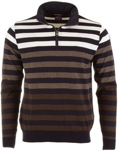 Paul & Shark Striped Zipper Pullover Brown-White