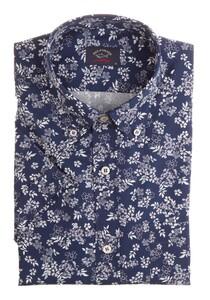 Paul & Shark Summer Blue-White Flowers Shirt Navy