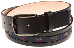 Paul & Shark Textured Leather Logo Belt Navy