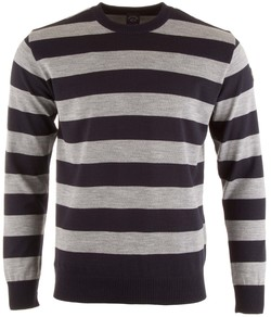Paul & Shark Three-In-One Barstripe Roundneck Trui Blauw-Grijs