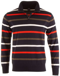 Paul & Shark Three-In-One Yachting Stripe Zipper Trui Navy